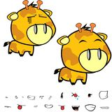 Funny little big head giraffe expressions set Royalty Free Stock Photo