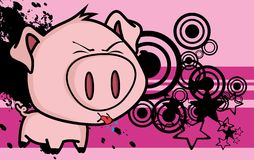 Funny little big head pig cartoon background2 Royalty Free Stock Photography