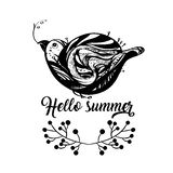 Hello summer -  illustration with bird. Funny little bird in black colour, single composition on a white background, with a Hello Summer lettering. Vector Stock Image