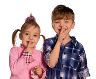 Funny Little Boy And Girl Stock Image