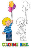 Funny little boy with balloons. Coloring book Royalty Free Stock Photo