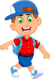 Funny little boy cartoon going to picnic vector illustration