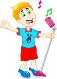 Funny little boy cartoon singing Royalty Free Stock Photography