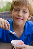 Funny little boy eats ice-cream Stock Photos