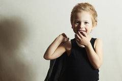 Funny little boy.fashion children.handsome smiling kid Royalty Free Stock Photos