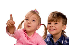 Funny little boy and girl
