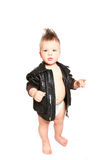 Funny little boy in a leather jacket and a diaper on a white bac Stock Photos