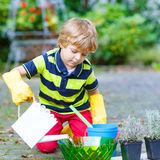 Funny little boy planting flowers in home's garden. Little child planting flowers in home's garden or farm, on warm sunny day. Outdoors. Environment concept Royalty Free Stock Image