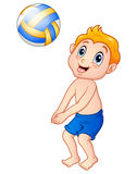 Funny little boy playing beach volley Royalty Free Stock Photography