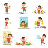 Funny little boy playing games and making mess Stock Images