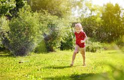 Funny little boy playing with garden sprinkler in sunny backyard. Preschooler child having fun with spray of water. Summer outdoors activity for kids stock photography