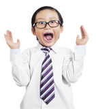 Funny little boy with shocked expression stock images