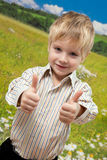 Funny little boy showing OK Royalty Free Stock Photography