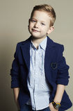 Funny little boy.stylish child in suit. Fashion children.business boy Royalty Free Stock Images