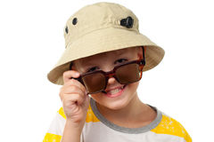 The funny little boy in sun glasses close up isolated Royalty Free Stock Photo