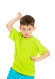 Funny little boy throws punches Stock Photos