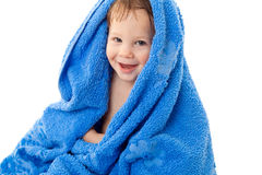 Funny little boy in towel Stock Image