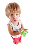 Funny little boy with toy Royalty Free Stock Images