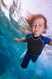 Funny little boy underwater Stock Images