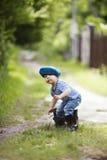 Funny little boy in uniform royalty free stock photo