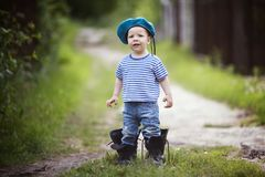 Funny little boy in uniform Royalty Free Stock Photos