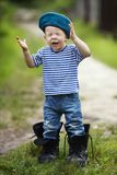 Funny little boy in uniform Royalty Free Stock Images
