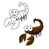 Funny little cartoon brown scorpion Stock Photo