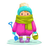Funny little cartoon kid with toy bucket and shovel. Stock Photos