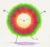 Funny little character. Pandan fruit Royalty Free Stock Image