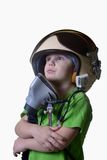 Funny little child in fighter pilot helmet isolated on white background Stock Image