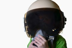 Funny little child in fighter pilot helmet isolated on white background Stock Images