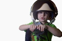Funny little child in fighter pilot helmet isolated on white background Stock Photos