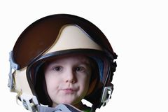 Funny little child in fighter pilot helmet isolated on white background Royalty Free Stock Image