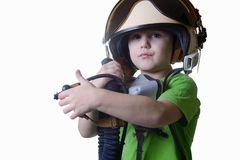 Funny little child in fighter pilot helmet isolated on white background Stock Photography