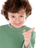 Funny little child in green Stock Photography