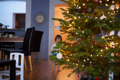 Funny little child is hiding behind the Christmas tree Royalty Free Stock Photography
