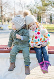 Funny little children brother and sister Royalty Free Stock Photos