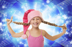 Funny little Christmas girl Royalty Free Stock Image