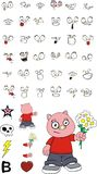 Flowers little chubby pig cartoon expressions set Royalty Free Stock Images