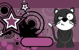 Grumpy little chubby cat cartoon expression background Stock Photo