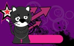 Sad chubby Little cat cartoon expression background Stock Image