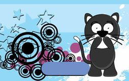 Sweet Little chubby cat cartoon expression background Stock Photos