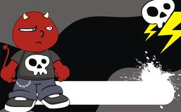 Incredulous demon kid cartoon expression background Stock Image