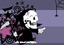 Little chubby grim skull skeleton cartoon halloween background. Funny little chubby grim skull skeleton cartoon halloween background in vector format Stock Image