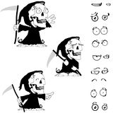 Funny Little chubby grim skull skeleton cartoon halloween set Stock Images