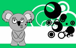Sing little chubby koala cartoon expression background. Funny little chubby koala cartoon expression background in vector format Stock Image