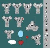 Cute little chubby koala cartoon expressions set Stock Photos