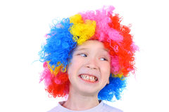 Funny little clown. Closeup image of the cute little clown boy Royalty Free Stock Photo