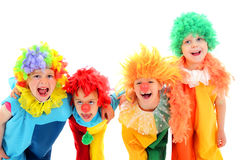 Funny little clowns. Group of funny little clowns. isolated on white Royalty Free Stock Photo
