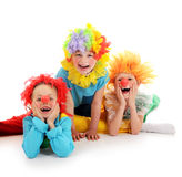 Funny little clowns. Group of funny clowns on white Stock Photo